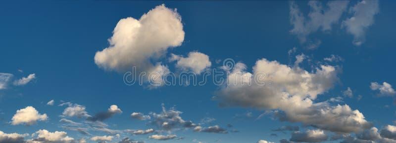 Flaumige Kumuluswolken mit blauem Himmel lizenzfreies stockfoto