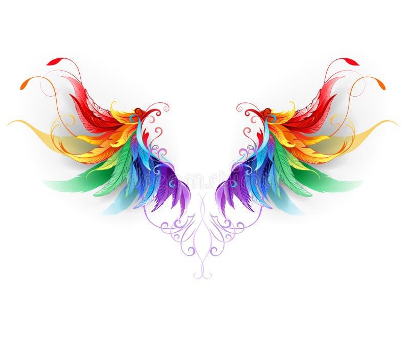 Flaumige Regenbogenflügel stock abbildung