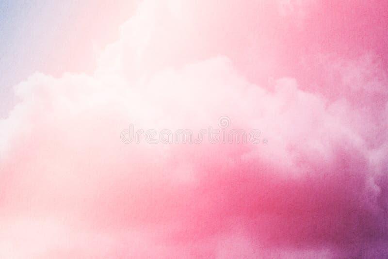 Flaumige Wolke und Himmel mit Steigungsfarbe und Schmutzbeschaffenheit, abstrakter Hintergrund lizenzfreie abbildung