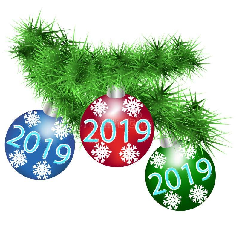 Flaumiger Fichtenzweig mit festlichen Bällen des neuen Jahres stock abbildung