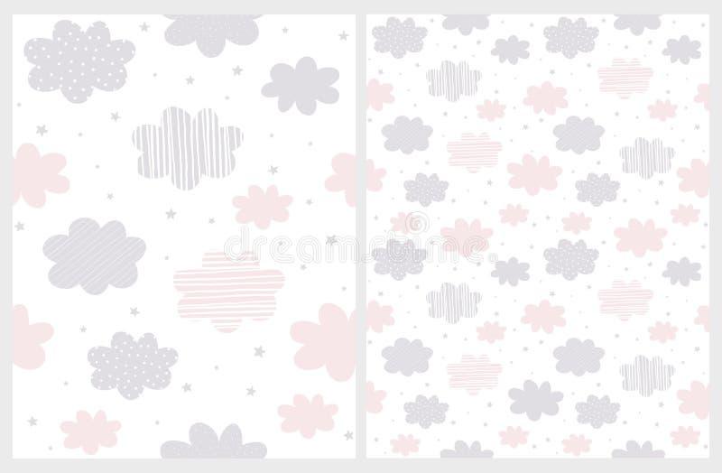 Flaumiges abstraktes Rosa und Gray Clouds mit dem Regen der Stern-Form lokalisiert auf einem weißen Hintergrund lizenzfreie abbildung