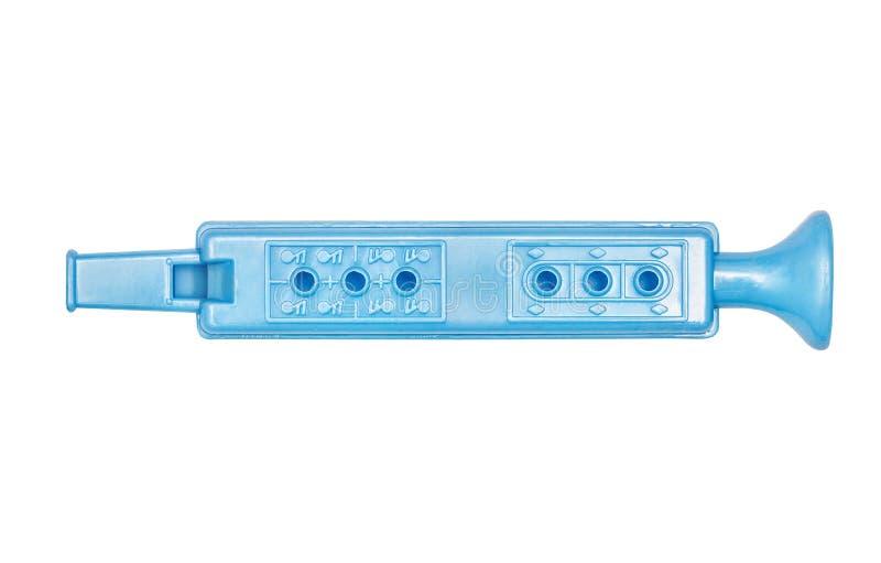 Flauta azul, brinquedo para crianças foto de stock
