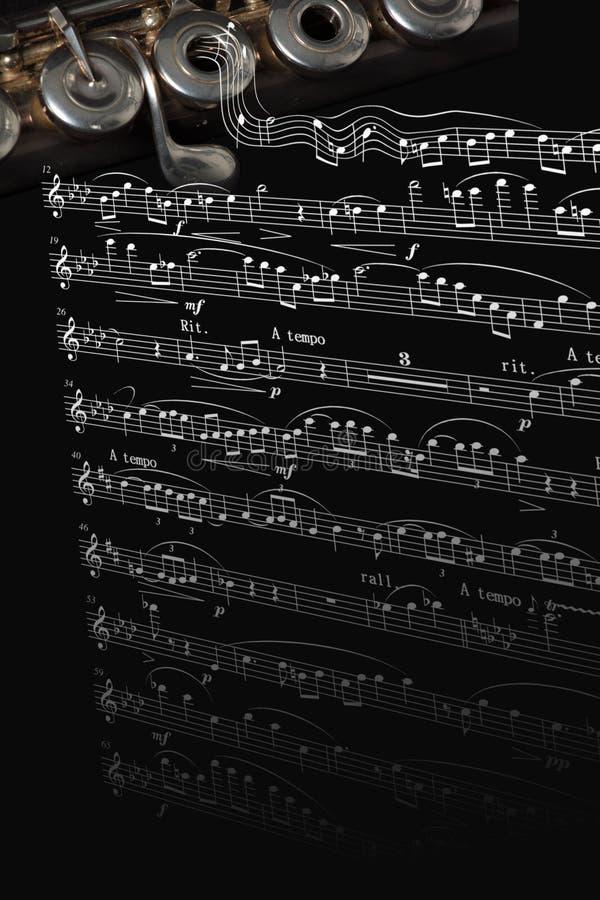 Flauta de prata em uma contagem da música ilustração stock