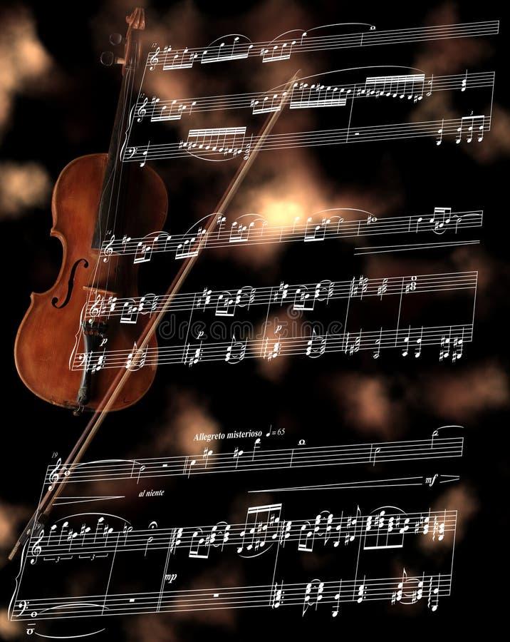 Flauta de prata em uma contagem da música ilustração do vetor