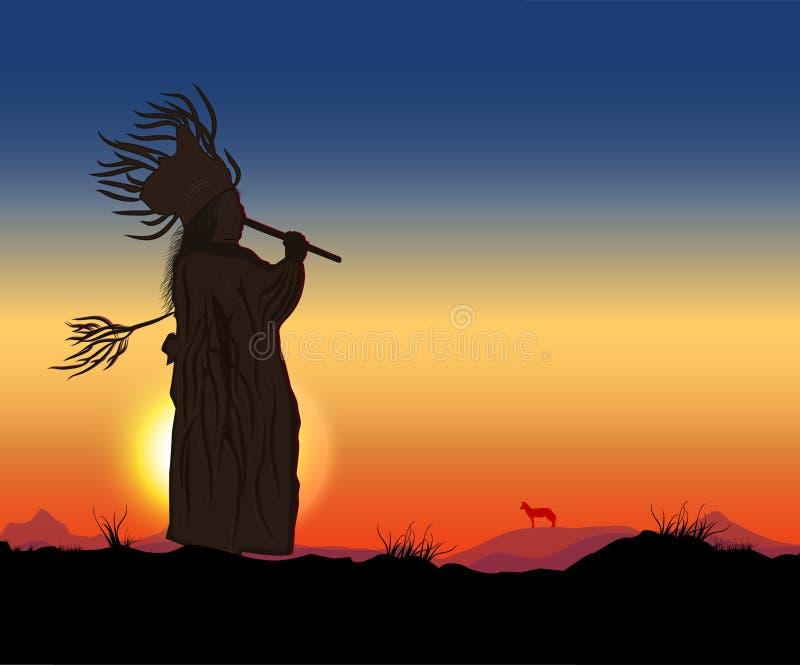 Flauta de Shamanic ilustración del vector