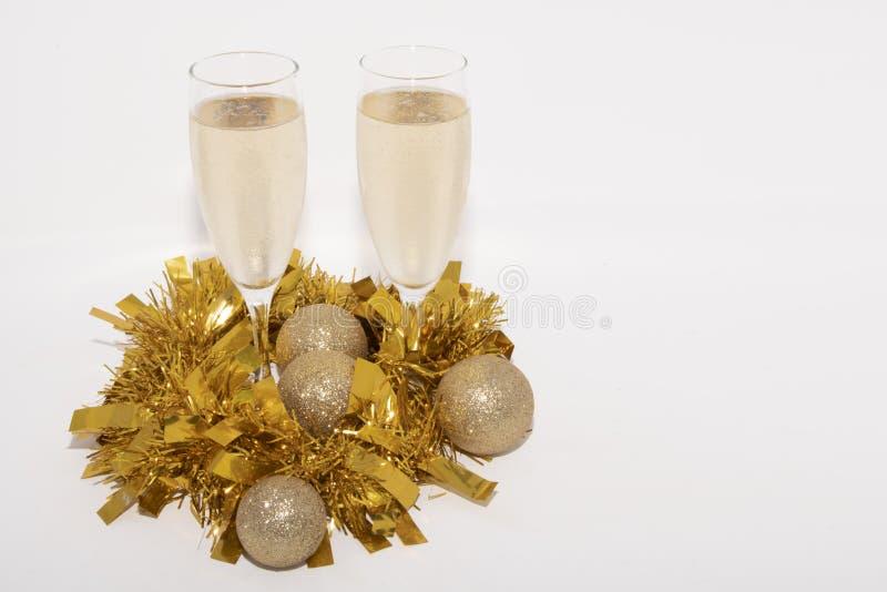 Flauta do champanhe para o Natal fotos de stock