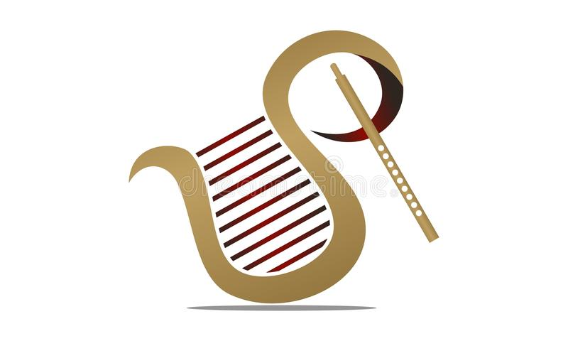 Flauta e harpa ilustração royalty free