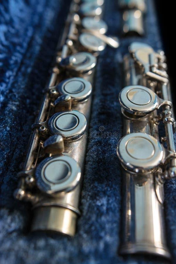 Flauta transversal en su caso fotografía de archivo