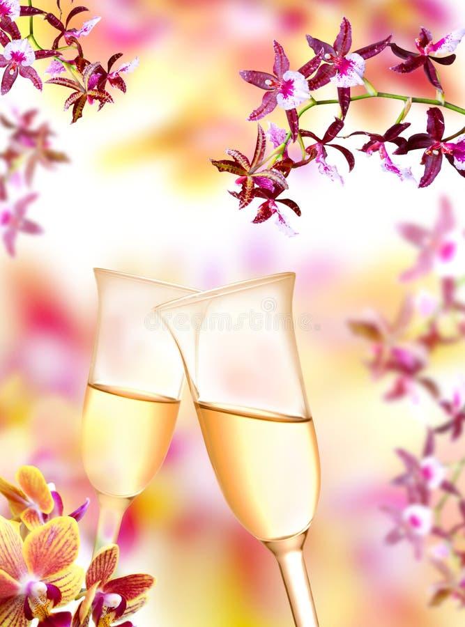 Flautas de la orquídea y de champán imagen de archivo