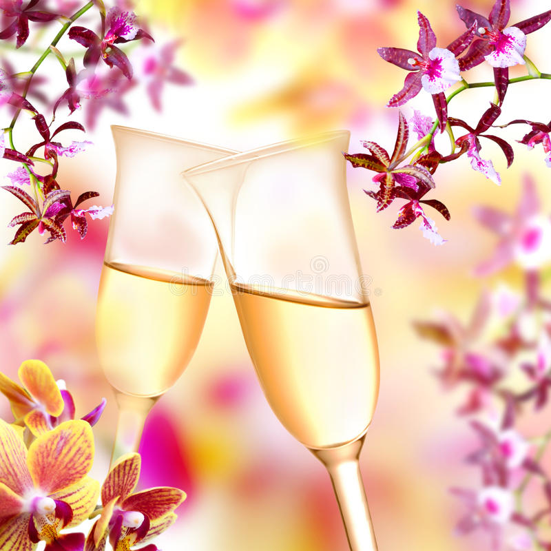 Flautas de la orquídea y de champán fotos de archivo libres de regalías