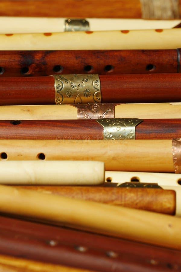 Flautas de madera imagenes de archivo