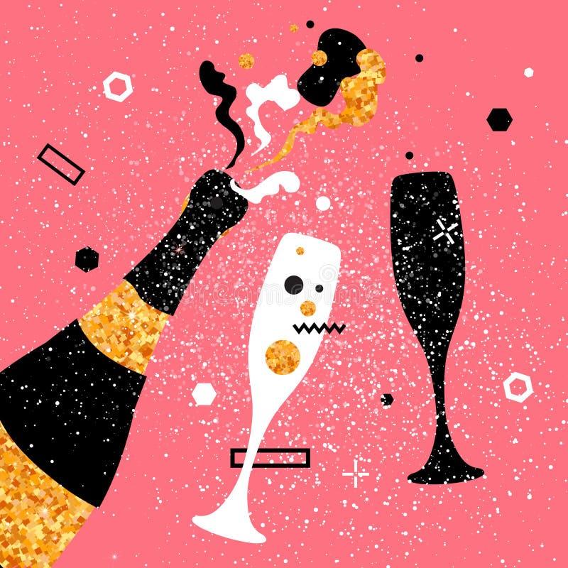 Flautas y botella de champán Día de fiesta alegre Bebidas alcohólicas Celebración del partido libre illustration