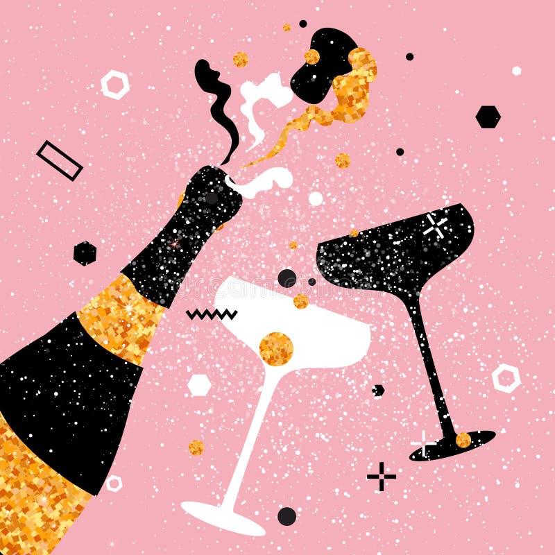 Flautas y botella de champán Día de fiesta alegre Bebidas alcohólicas Celebración del partido stock de ilustración