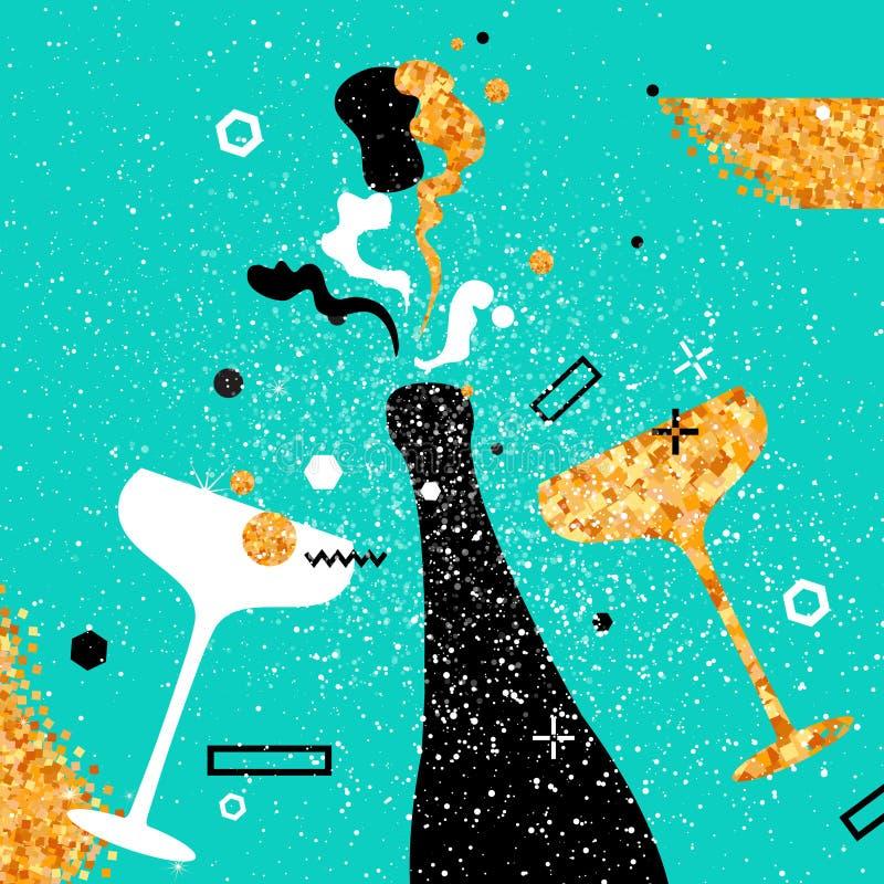 Flautas y botella de champán Día de fiesta alegre Bebidas alcohólicas Celebración del partido ilustración del vector