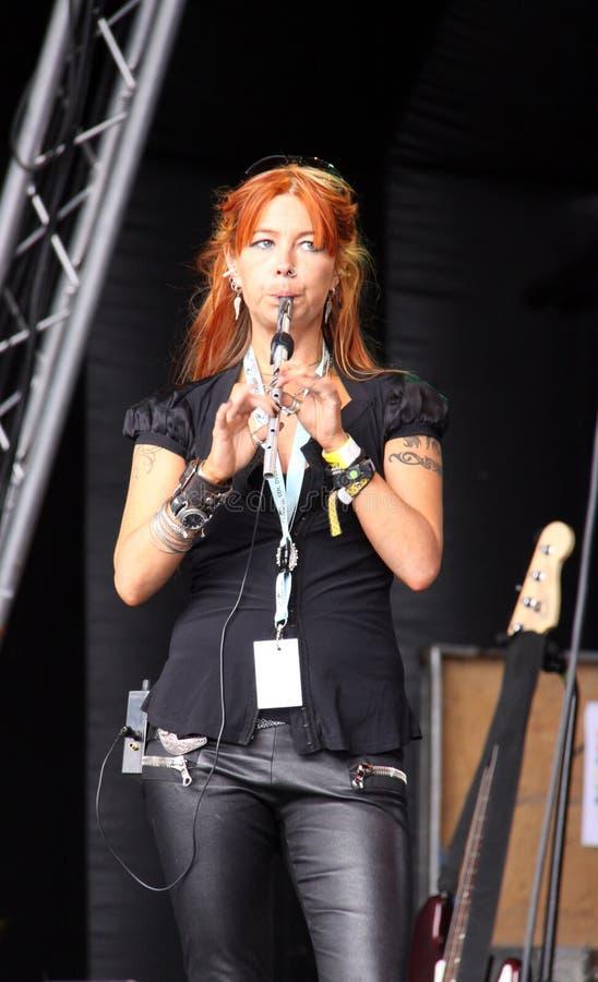 Flautist de cou irlandais de gens/groupe de rock photo stock