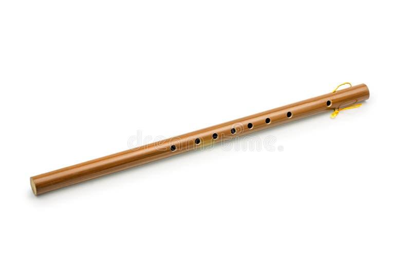 Flauto di bambù, su bianco con il percorso di ritaglio fotografie stock libere da diritti