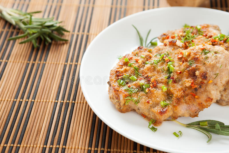 Flavorful Cutlet With Chives Stock Images