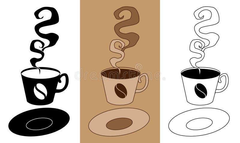 Flavorous und geschmackvoll vom Kaffee in der Schale mit Vektorillustration EPS10 der flachen Ikone der Untertasse gesetzter stock abbildung