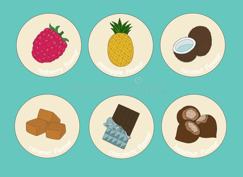 Flavours stickers for drinks and desserts. Fruits flavours stickers for drinks and desserts: raspberry, pineapple, coconut, caramel, chocolate, hazelnut. The vector illustration