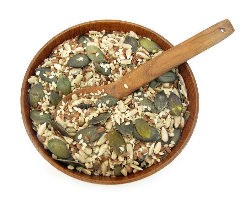 Flax, pumpkin, sesame and sunflower seeds healthy. Flax (also known as common flax or linseed) (binomial name: Linum usitatissimum) is a member of the genus stock image