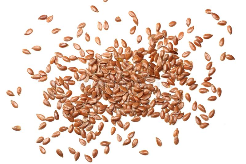 Flax seeds isolated on white background. flaxseed or linseed. Cereals. Healthy food. top view stock photos