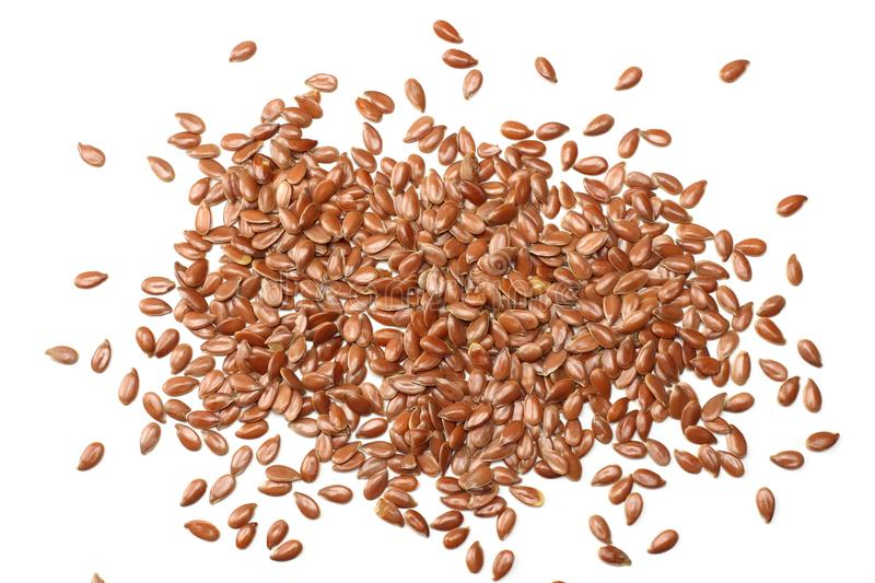 Flax seeds isolated on white background. flaxseed or linseed. Cereals. Healthy food. top view stock photo