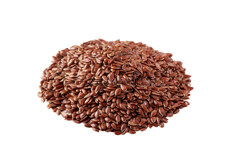 Flax seeds on white background stock photo