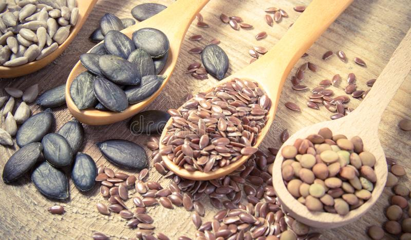 Flaxseed, κολοκύθα, σταφίδες, φακές και σπόροι ηλίανθων στα ξύλινα κουτάλια στοκ εικόνες