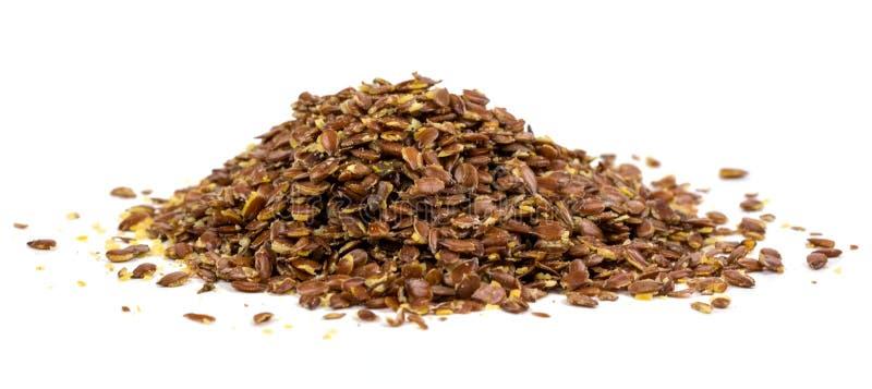 Flaxseed στο άσπρο υπόβαθρο στοκ φωτογραφίες