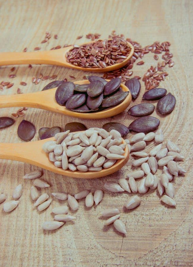 Flaxseed, bania i słonecznikowi ziarna w drewnianych łyżkach, obrazy stock