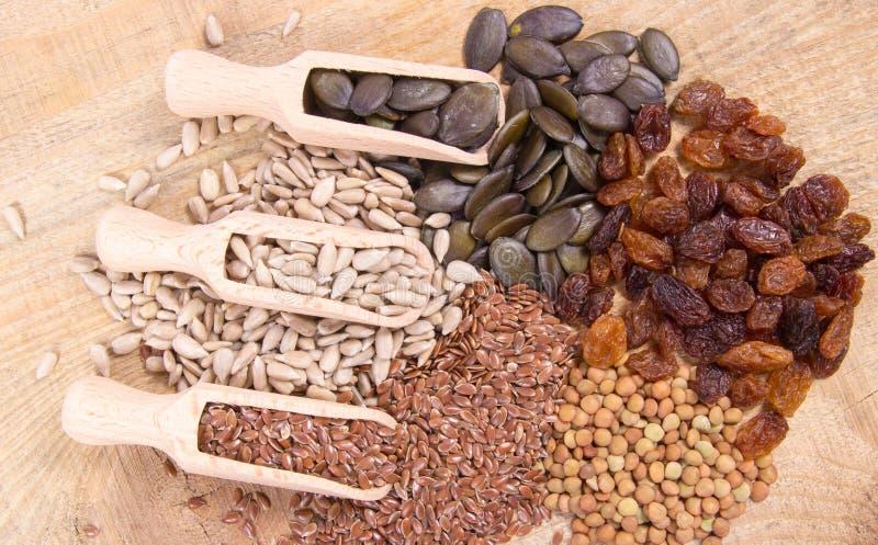Flaxseed, bania, rodzynki, soczewicy i słonecznikowi ziarna w drewnianych łyżkach, obraz stock