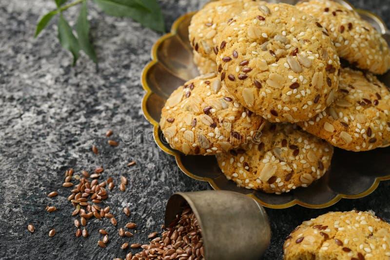 Flaxseed ciastka obrazy royalty free