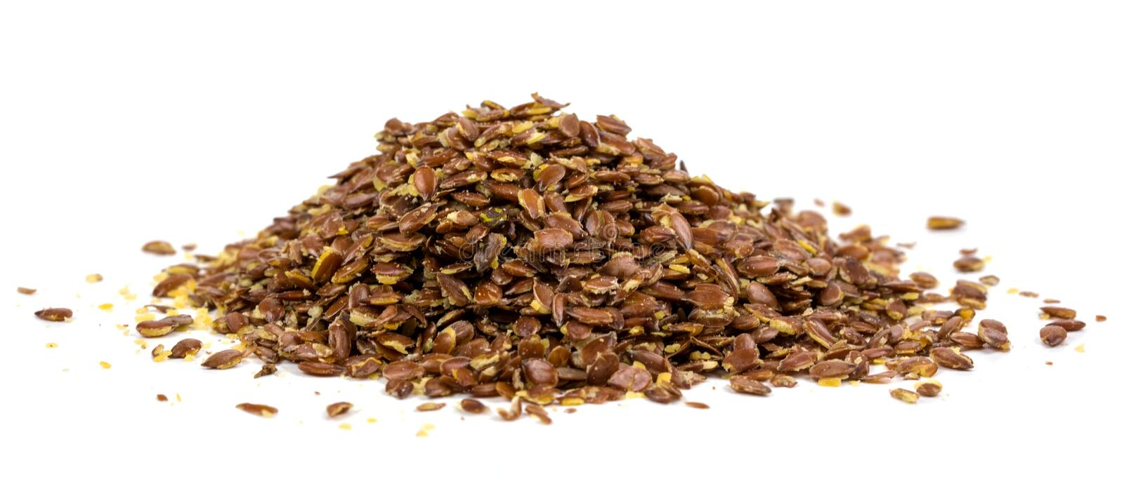 Flaxseed on white background.  stock photos
