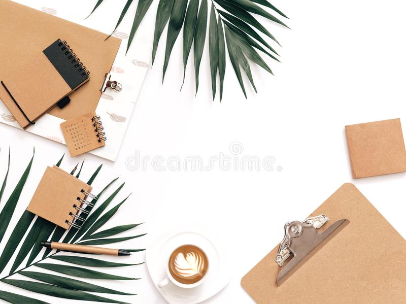 Flay lay, Top view office table desk. Feminine desk workspace frame with clipboard, royalty free stock images