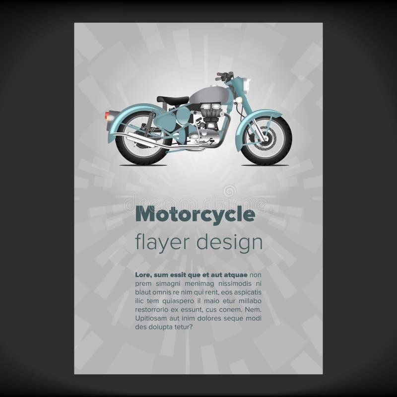 Flayer ή αφίσσα με τη μοτοσικλέτα διανυσματική απεικόνιση