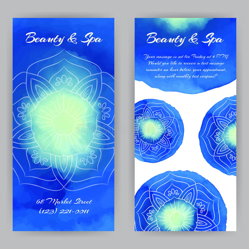 Flayer με μπλε Lotuses απεικόνιση αποθεμάτων