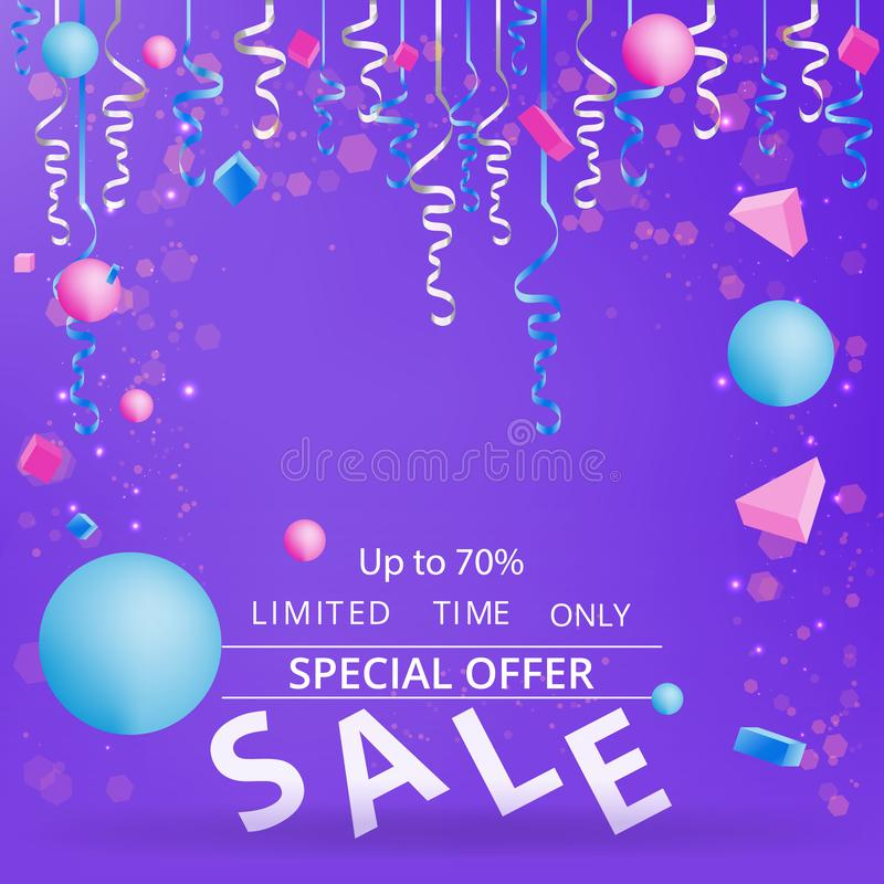 Flayer продажи с confetti на неоновой фиолетовой предпосылке бесплатная иллюстрация