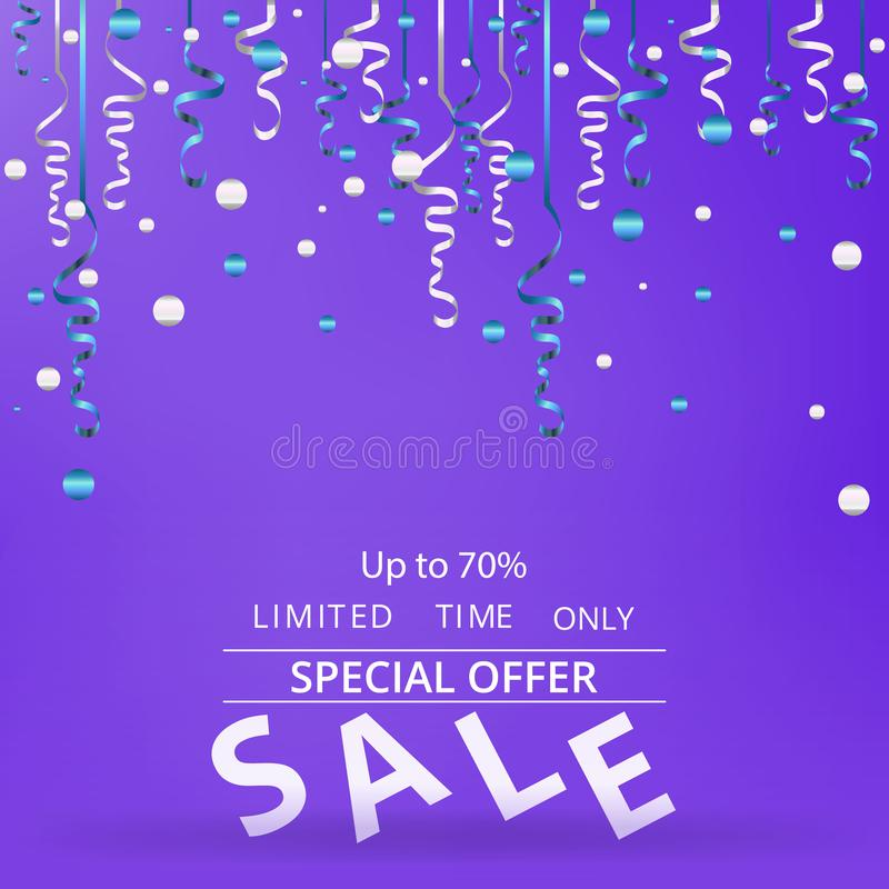 Flayer продажи с confetti на неоновой фиолетовой предпосылке иллюстрация вектора