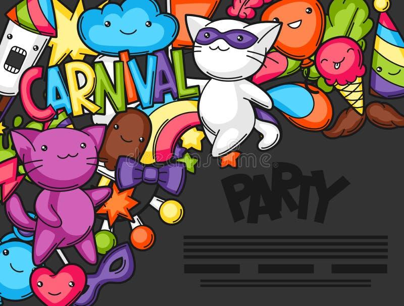 Flayer do kawaii do partido do carnaval Gatos bonitos, decorações para a celebração, objetos e símbolos ilustração do vetor