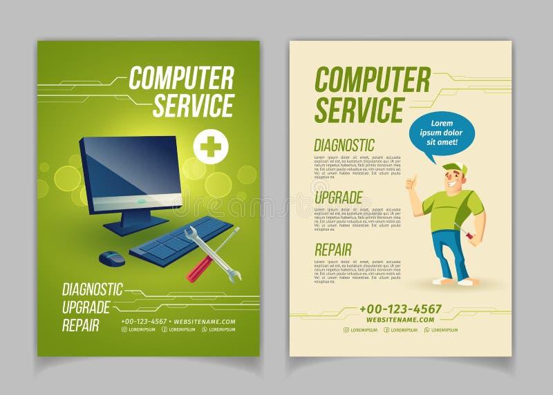 Flayer för annons för vektor för tecknad film för datorreparationsservice royaltyfri illustrationer