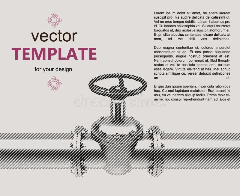 Flayer för anslutning för ventil för gasrör vektor illustrationer