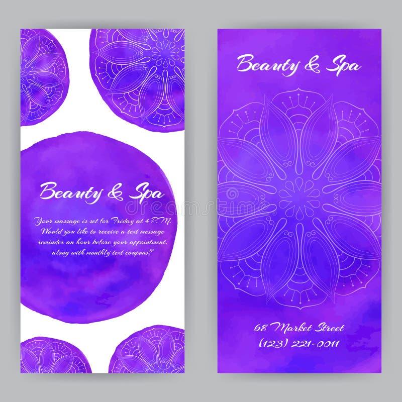 Flayer med Violet Lotuses vektor illustrationer