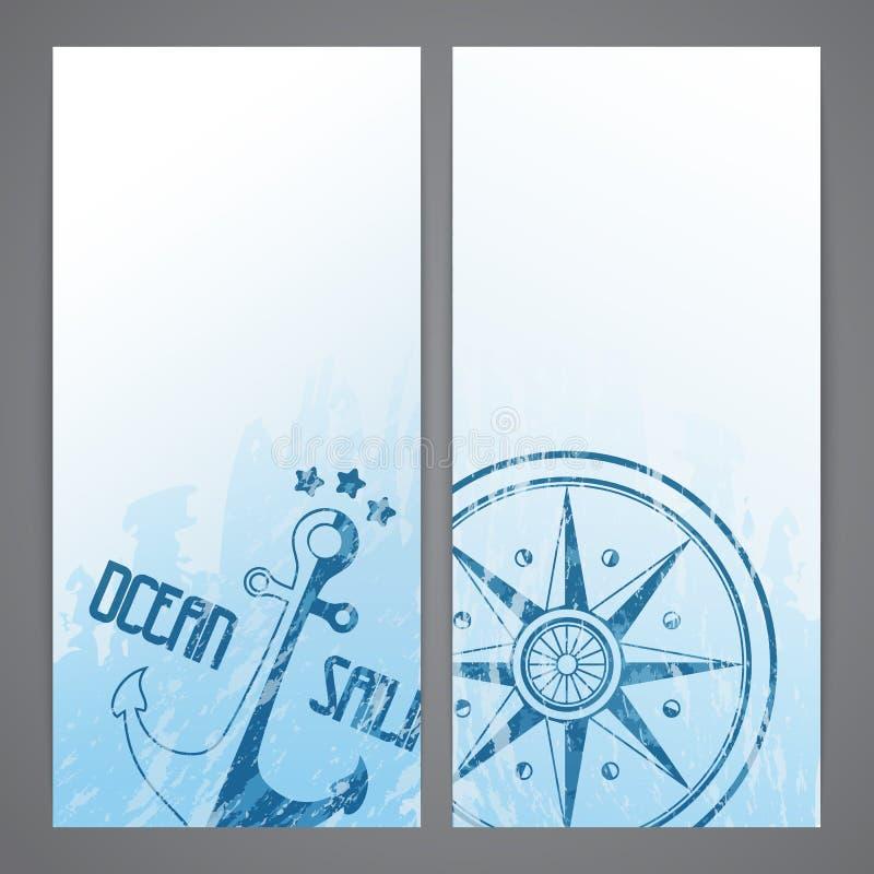 Flayers nautiques avec des éléments de navigation illustration stock