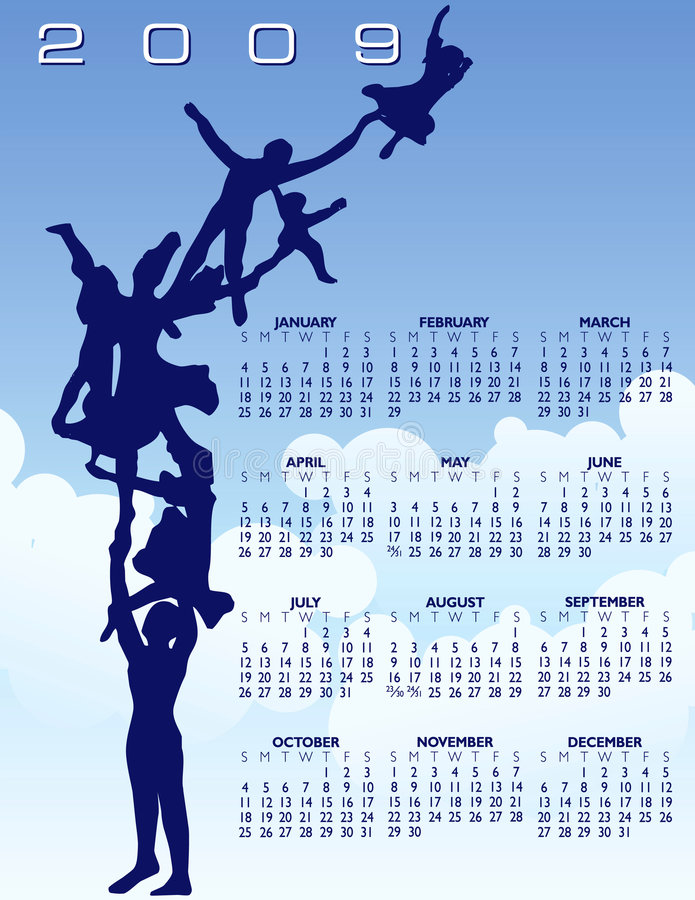 flaying de famille de 2009 calendriers illustration libre de droits