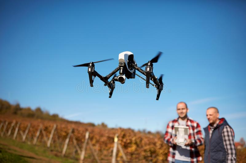 Flaying drone in nature royalty free stock image