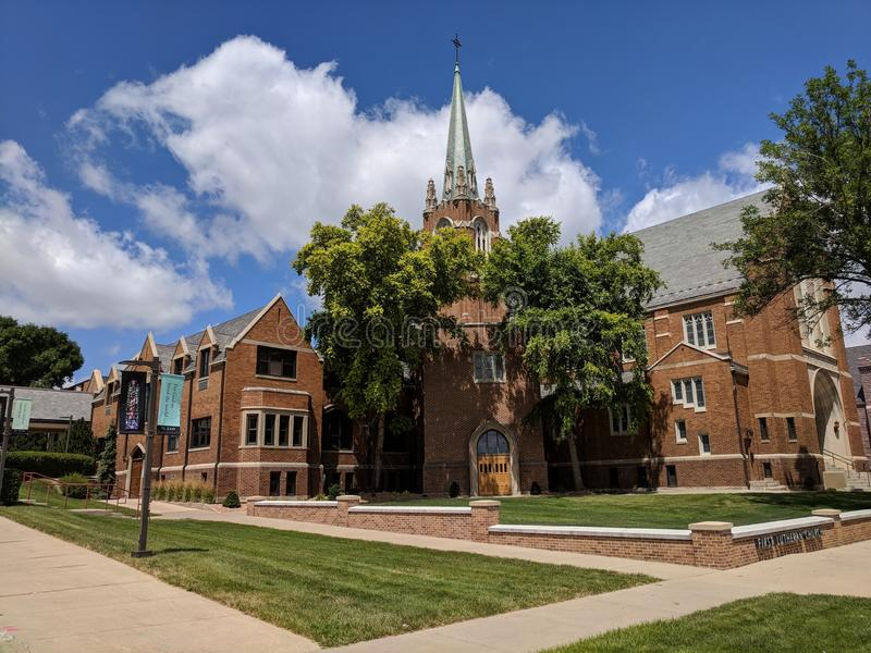 First Lutheran Church in Sioux Falls, SD. FLC is a traditional Norse staved construction church royalty free stock images