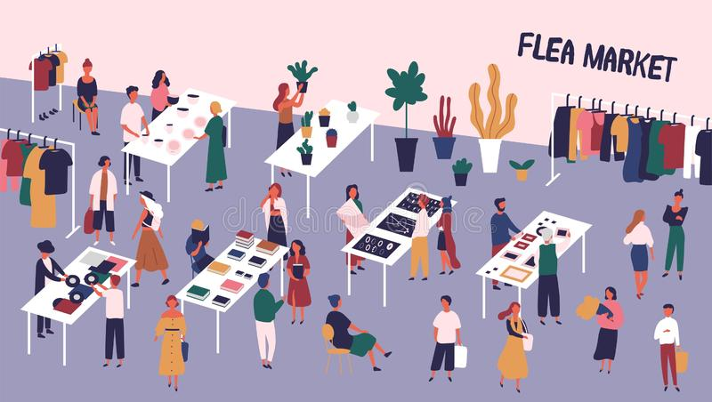 Flea or fashion market, rag fair with people walking among counters and buying vinyl records, old books, vintage clothes. Jewelry, ceramics. Colorful vector royalty free illustration