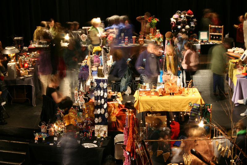 Flea Market. Patrons blurred by long exposure