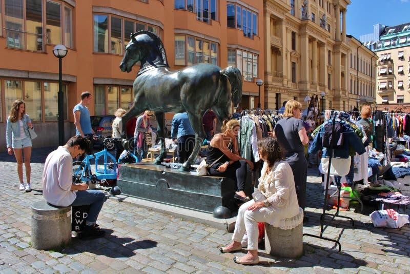 Flea market. On Blasieholmstorg in Stockholm stock images