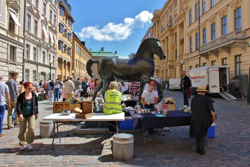 Flea market. On Blasieholmstorg in Stockholm stock photos